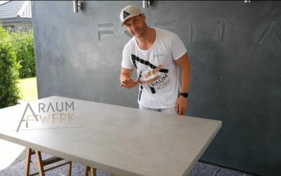 Making of Betontisch / Esszimmertisch von Hand gespachtelt