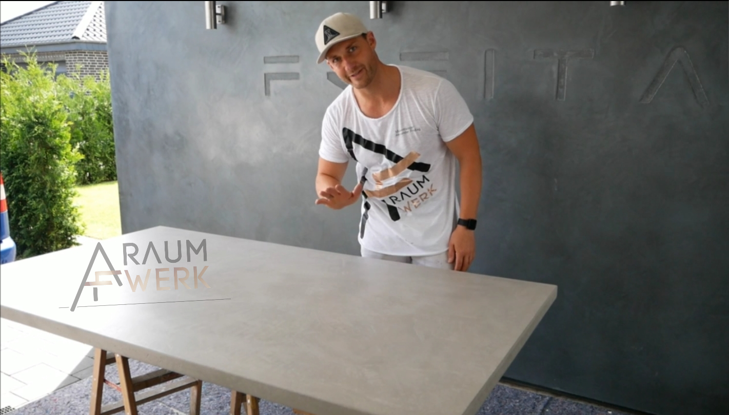 making of betontisch esszimmertisch von hand gespachtelt. Black Bedroom Furniture Sets. Home Design Ideas